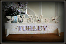 Mr & Mrs Wedding Sign MR AND MRS Top Table Gift Plaque all colours personalised