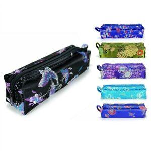 "SILK MAKEUP BAG 6.5"" Sun Glasses Jewelry Tampon Soft Fabric Travel Case w Zipper"
