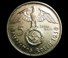 Rare Nazi German 5 Reichsmark Third Reich SILVER Coin with EAGLE Big SWASTIKA