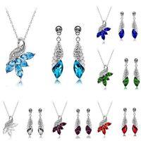 Fashion Women Crystal Rhinestone Peacock Pendant Necklace Earring Jewelry Set