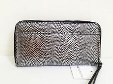 BNWT Authentic LIZ CLAIBORNE Zip Around Clutch Wallet Wristlet Pewter Python