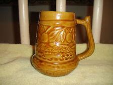 Vintage Maio Cuba Brown Pottery Beer Or Coffee Mug-Fish & Fruit Pattern-Unusual