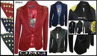 WOMENS NEW LADIES SPIKE STUDDED TAILORED LINED BLAZER COAT JACKET SIZE / 8-14