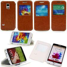 Samsung Galaxy S4 mini 9190 Handy Flip View Fenster Tasche Case Hülle Etui Braun