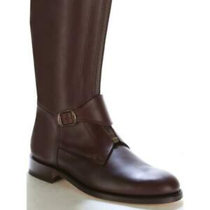Polo Men's Horse Ridding Long Zipper Real Leather Boot Tall Boots Size 9.5 USA