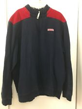Vineyard Vines 1/4 Zip Pullover Sweater Sweatshirt Mens Red Blue Jacket SZ L
