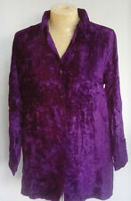 Bright Deep Purple Velvet Shirt top Sizes 10 12 14 16 Shimmering FESTIVAL GSV2