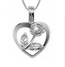 """Sterling Silver Rose Flower Pendant 18"""" Chain Necklace Love Heart Gift Box B10"""