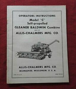 "ALLIS CHALMERS MODEL ""C"" GLEANER COMBINE OPERATORS MANUAL clean"