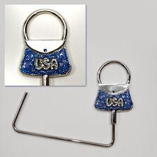 Handbag Hanger Purse Hook Bag Holder USA Patriotic Chrome, Dark Blue US Handmade