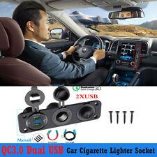 DC12V-24V Car Cigarette Lighter Socket Dual USB Charger QC3.0 &Voltmeter&Switch