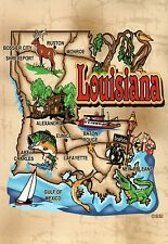 Louisiana, New Orleans Baton Rouge Lafayette, Alligator etc - State Map Postcard