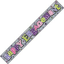 Engagement Congratulations Silver Pink Foil Banner Bunting Party Decorations