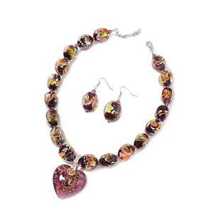 "Murano Millefiori Glass Enameled Fashion Steel Earrings Pendant Necklace 20"""