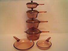 VISION WARE VISIONS CORNING PYREX 10 PC. 10 PIECE ALL GLASS COOKWARE SET AMBER