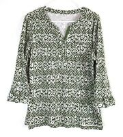 Women's Kim Rogers Green 3/4 Sleeve Scoop Neck With White Circles & Dots Blouse