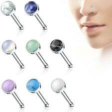 8pc Semi-Precious Stone Nose Studs 20g 20 gauge Nostril Rings Surgical Steel