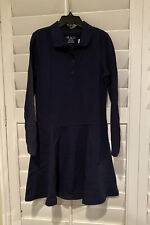 The Childrens Place Girls Uniform Long Sleeve Dress Blue Size 7/8 Nwt
