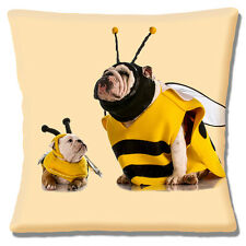 English Bulldog & Cute Puppy Cushion Cover 16x16 inch 40cm Dressed as Bumble Bee