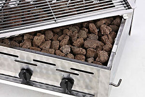 K+F Lavasteingrill mit Propangas, 2-flammiger Gasgrill - Made in Germany