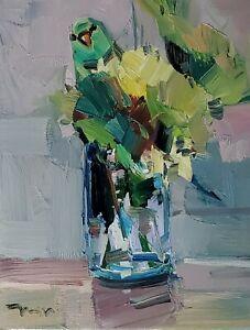 JOSE TRUJILLO Oil Painting IMPRESSIONISM STILL LIFE PARAKEET HIDING FLOWERS NR