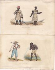 1828 Two Costume Prints - Kuril Island Man & Woman - Indian Letter Carrier