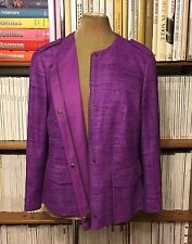 AKRIS Punto 100% silk jewel purple jacket blazer UK 14-16  US 12 / D 42  / FR 44