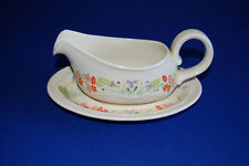 Poole Pottery Wild Garden Gravy, Sauce Boat and Stand, Excellent Condition.