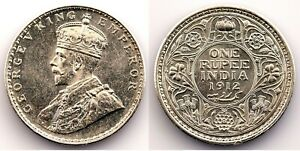 India-Jorge V. 1 Rupia. 1912 SC-/UNC-. Brillo original. Plata 11,6 g. Escasa asi