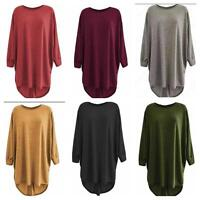 LADIES' LONG LOOSE FIT  BATWING TOP JUMPER KNITTED OVERSIZED HI LO HEM