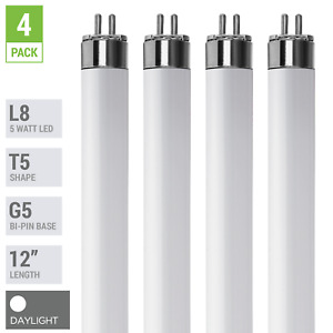 "(4 Pack) LED Tube L8 F8T5/65K 12"" INCH 5W =8W G5 Mini 2-Pin Base 6500K Daylight"