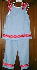 REMEMBER NGUYEN GIRLS 2 PC BLUE CHECK TUNIC AND PANTS SET SZ. 8 NWOT