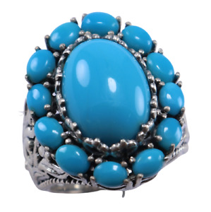Sleeping Beauty Turquoise Gemstone Design ring size 8 Women silver 925 sterling