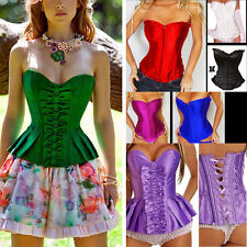 Sexy Solids Strapless Satin Boned Bowed Ruffled Bustier Corset Steampunk Goth US