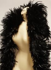 "2 Yard Hackle Boa BLACK Feathers 7-10"" in width Trim/Costume/Halloween/Fashion"