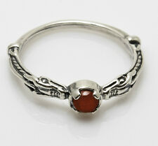 Celtic Dragon Ring .925 Sterling Silver size 7 w/ Natural Carnelian gemstone