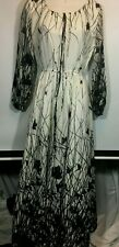 Vintage Dress Maxi Peasant 10  Black White Sears Witchy Gothic