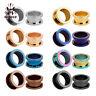 1 Pair Stainless Steel Ear Plugs Screw Fit Gauges Tunnels Earrings 8 Colors