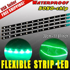 4x 12V 30CM 12-LED vivid Green Car Motor Flexible Waterproof Strip LED Lights