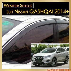 Weather shields Window Visors Weathershield Chrome suit NISSAN QASHQAI 2014-2019