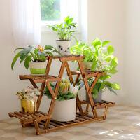 11x4x23 Pine Wood Plant Stand Flower Pot Display Rack Holder Balcony Deck Garden