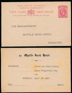 JAMAICA 1920 MYRTLE BANK HOTEL STATIONERY REPLY CARD DINNER DANCE
