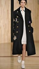 Zara AW16 Long Navy Wool Coat With Patch Size S Uk 8/10 Genuine Rrp£129