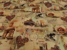 """tela de Vestido"""" París"""" Jersey 150cm ancho Mezcla Algodón multicolor.con.motivos"""