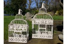 Bird Cage Hanging Basket Candle Holder Wedding Centre piece Ornate White metal