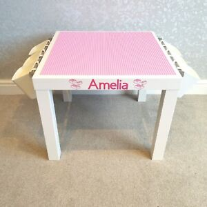 Construction Play Table Pink Base Plates Compatible with brands including Lego