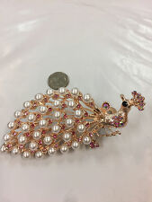 """PEACOCK DESIGN HAIR CLIP WITH RHINESTONE COLOR PINK 3""""X5"""" INCHES"""