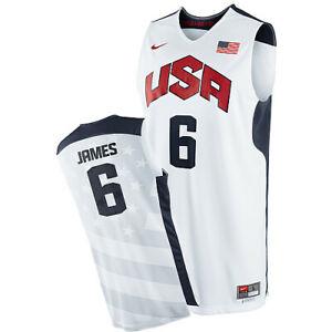 NWT Lebron James #6 Team USA Stitched Basketball Jersey - White
