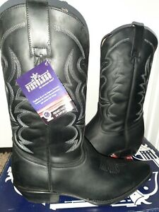 Mens Western cowboy boots, black, Leather Size 9.5 (28.5 Mex, 44 Eur) NEW