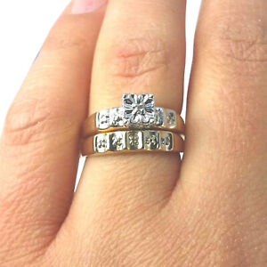 1.49 Ct Diamond 2-Piece Engagement Ring Bridal Set Women's Real 10k Yellow Gold